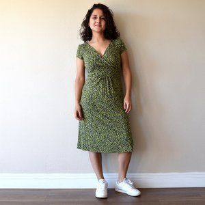 Boden Green Animal Print Wrap Jersey Dress Size 4R